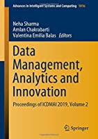 Data Management, Analytics and Innovation: Proceedings of ICDMAI 2019, Volume 2 Front Cover