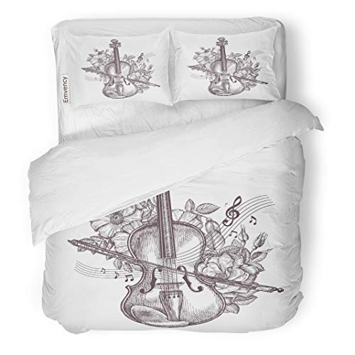Semtomn Decor Duvet Cover Set King Size Orchestra Vintage Fiddle Retro The Violin and Flowers Sketch 3 Piece Brushed Microfiber Fabric Print Bedding Set -