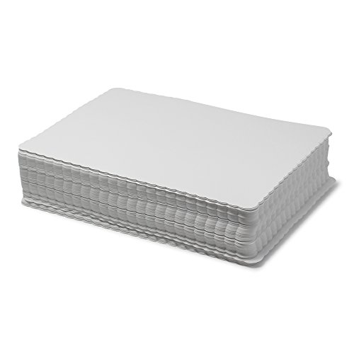 Scalloped Paper Placemats Bulk - Case of 1000 Rectangular Mats - 10'' x 14'' White Placemats - Disposable Commercial Place Mats for Health Care Facilities, Restaurants, Diners, and Catered Events by Paterson Paper