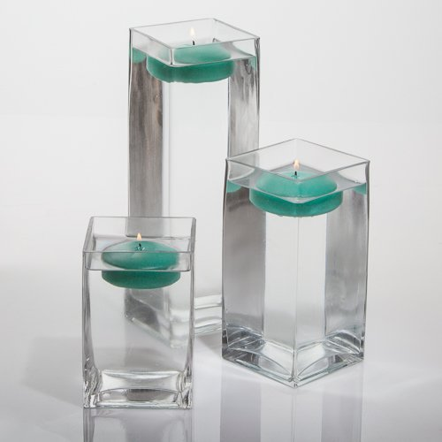 - Set of 3 Eastland Square Vases and 3 Richland Floating Candles 3