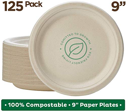 "Stack Man 100% Compostable 9"" Paper Plates [125-Pack] Heavy-Duty Quality Natural Disposable Bagasse, Eco-Friendly Made of Sugar Cane Fibers, 9-inch, Brown"