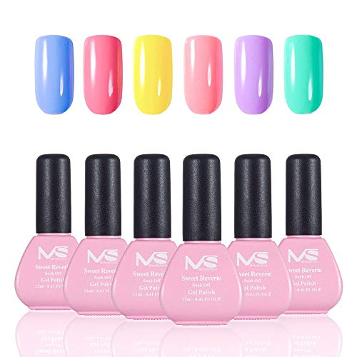 - MelodySusie Durable Gel Nail Polish, Sweet Reverie 1 Step Nail Gel Kit, 6 Colors, Long Lasting, No Base and Top Coat Needed, Quick Curing with LED or UV Nail Lamp, Easy Soak Off