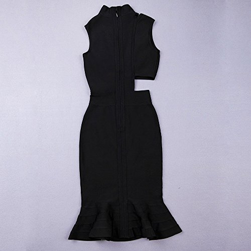 HLBandage Women Cut Out Asymmetry Fishtail Bandage Dress Negro