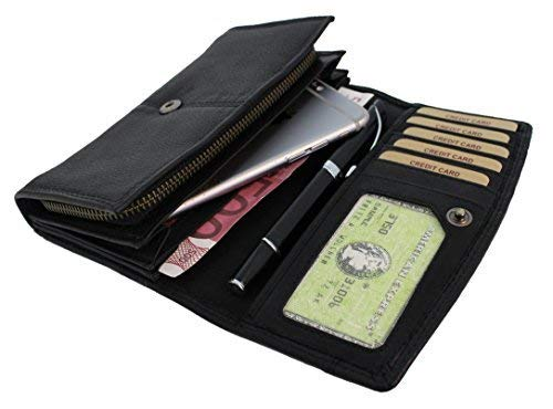 (Genuine Leather Wallets for Women Handmade Large Capacity Long ID Card Holder Organizer Ladies Clutch Wallet Hill Burry black Paris)