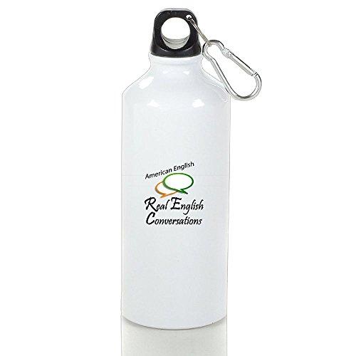 - Personalized Custom American English Aluminum White Sport Water Bottle Customizable
