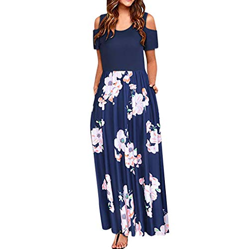 Womens Long Maxi Dress, JOYFEEL Striped Straight Sleeveless Tank Top Party Floral Chevron Casual Summer Party Dress]()