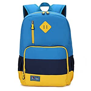 Kids Waterproof Backpack for Elementary or Middle School Boys and Girls (Blue with Reflector)