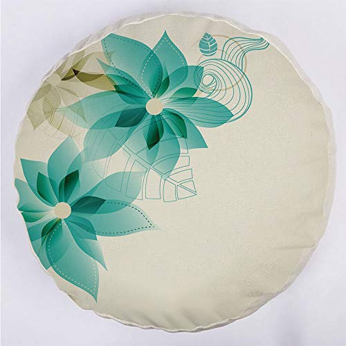 Round Decorative Throw Pillow Floor Meditation Cushion Seating/Vintage Inspired Floral Elegance with Abstract Vibrant Colored Natural Elements Decorative/for Home Decoration 17