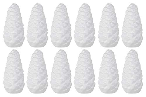 Foam Pinecones - 12-Pack Pinecone Shaped Foam, Black Polystyrene Foam for DIY Crafts, Kids Art Class, School Projects, Autumn Thanksgiving Christmas Decoration, White, 2.25 x 2.25 x 5.25 Inches