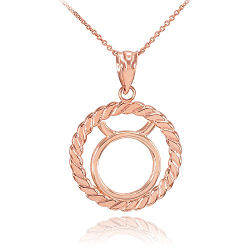 Collier Femme Pendentif 14 Ct Or Rose Taureau Zodiaque Signe À Cercle Corde (Livré avec une 45cm Chaîne)