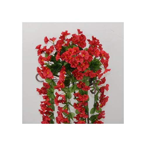 Pretty Cute Store-Artificial flower Fake Bracket Plant Petunia Rattans Trumpet Flower Vine Morning Glory for Wedding Artificial Decorative,Red ()