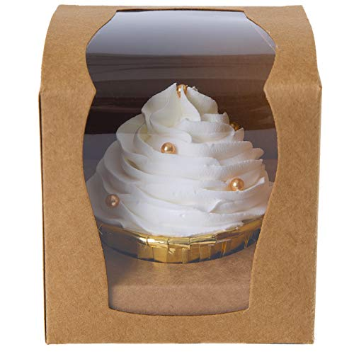 ONE MORE Cupcake Boxes Single 15 Count with Clear Window Inserts for Party Cupcake Favor Boxes Easy Assembly (brown)