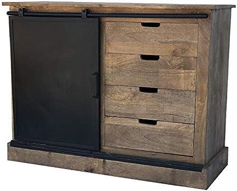 Bahut Console Chest Of Drawers Furniture Kitchen Living Room Wood Iron Industrial Sliding Door Amazon De Kuche Haushalt
