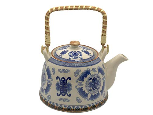 Ceramic Teapot with Stainless Steel Infuser and Lid Blue and White Print Glossy Finish Natural Bamboo Handle 31 ounce/900 mL