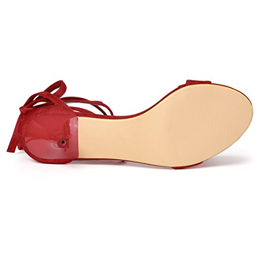 Allegra K Femmes Chaton Talon Lace Up Sandales Rouge