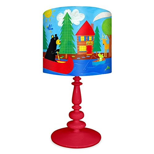 - Oopsy Daisy NB14941 Black Bear Lodge on Resin Red Base Table Lamp