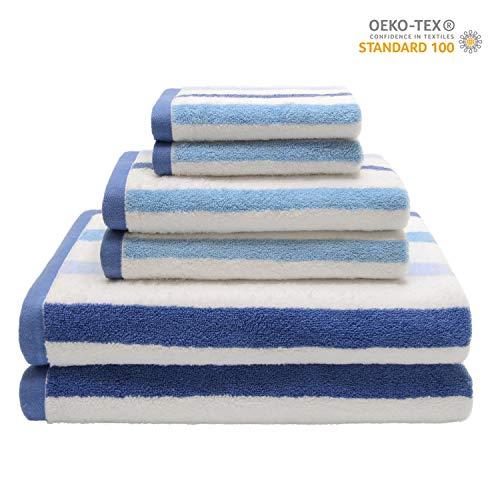 QUEEN HOME TEXTILES Ultra Soft 6 Piece Striped Bath Towel Set- 100% Long Staple Ringspun Cotton - 2 Bath Towels, 2 Hand Towels, 2 Washcloths - Super Absorbent (Stripe Blue)