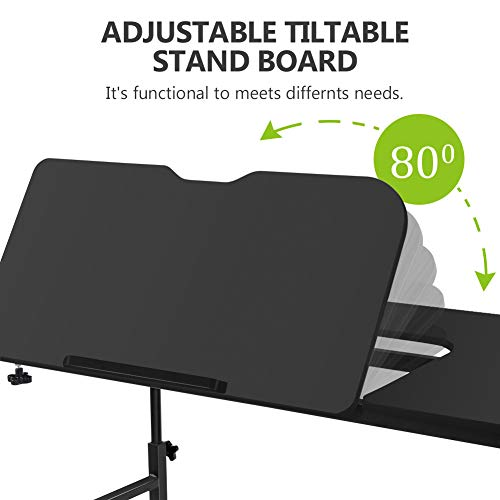Overbed Table with Wheels, LITTLE TREE Multi-Function Height & Length Adjustable Mobile Table with Tiltable Stand Board, Works as Computer Desk, Writing Desk or Drafting Table (Black Finish) by LITTLE TREE (Image #3)