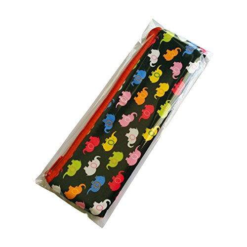 Budget Gift Idea- New Thai Elephant Design Cotton Pen Pencil Zipper Bags Souvenir Multi Purpose Stationery MakeUp Brush Cases, 7.8 X 2 Inches (Multi Color Elephants on Black)