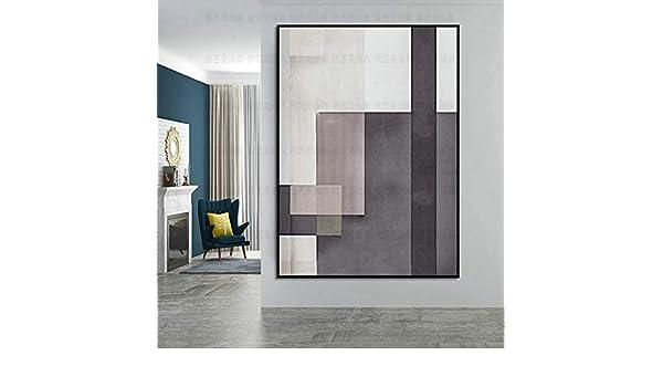 FENGJIAREN Pintura Al Óleo 100% Pura Pintada A Mano Pintura Geométrica Abstracta En Blanco Y Negro Geométrico Abstracto Pintura Al Óleo del Arte Minimalista Moderno Adecuada para La Sala De Esta: Amazon.es: