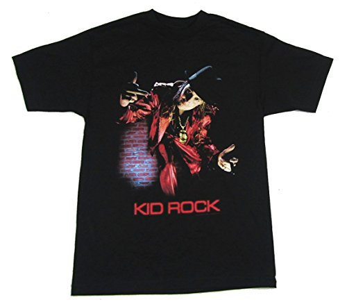 Kid Rock Brick Wall Middle Finger Image Black T Shirt (L) - Kid Rock Merchandise