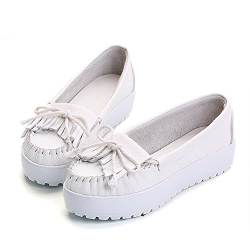 AmoonyFashion Womens Round-Toe Closed-Toe Low-Heels Pumps-Shoes With Solid and Knot White eKLgVJcH2