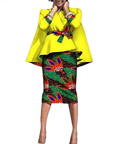 Vska Womens Africa Batik Accept-Waist Two-piece Suit Dashiki Bodycon Skirt 3 4XL by Vska
