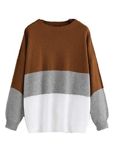 Milumia Women's Drop Shoulder Color Block Textured Jumper Casual Sweater Multicolor-9 2XL
