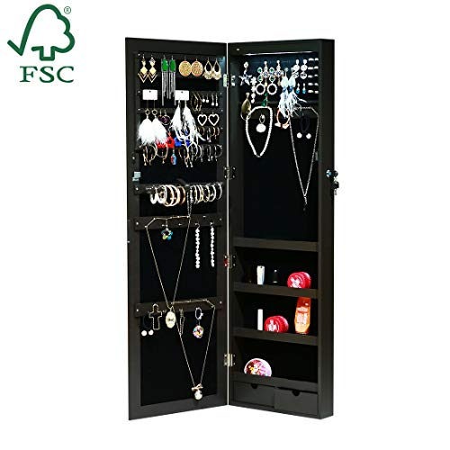 EMONIA LEDs Jewelry Cabinet Armoire with Full Length Mirror,Lockable Jewelry Organizer Wall/Door Mounted with Hanging Hook,Rings Earrings Bracelets Storage Box Necklace Holder (Brown) (Jewelry Cabinet Hooks)