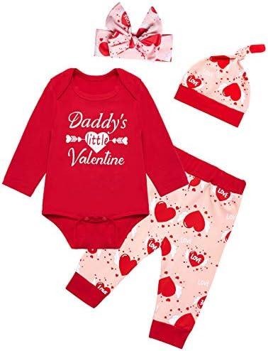 Valentine's Day Newborn Baby Girls Daddy's Little Valentine Tops Pant Clothing Set