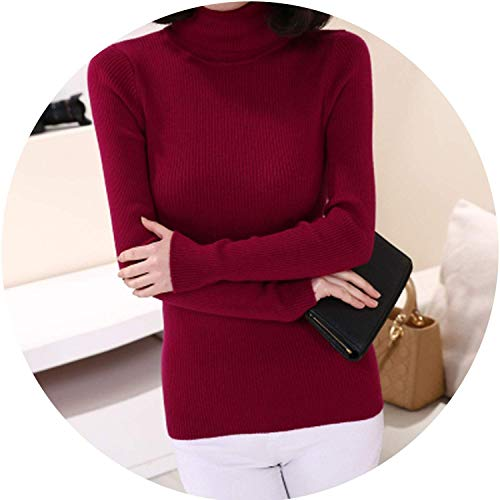 spyman Cashmere Sweater Women Turtleneck Pullover Sweaters Shirt Wool Knitted Sweater Tops,Medium,WineRed
