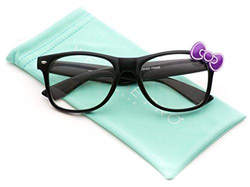 WearMe Pro - Clear Lens Balck Frame Kitty Bow Fashion - Glasses Nerdy Girls For