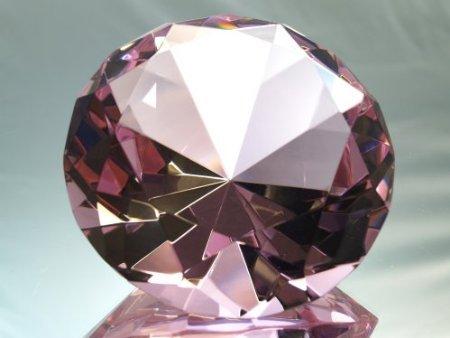 Pink Crystal Diamond Jewel Paperweight 100mm