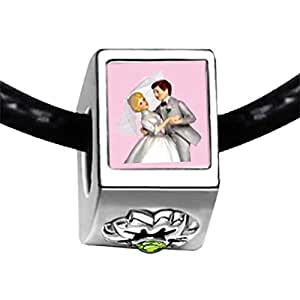 Chicforest Silver Plated Wedding Cake Couple Photo Peridot Crystal August Birthstone Flower Charm Beads Fits Pandora Bracelets