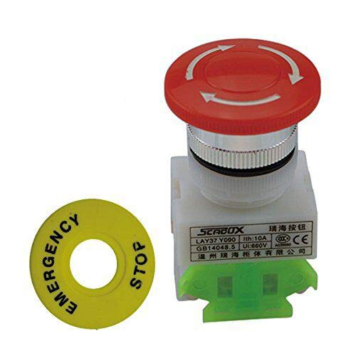 URBEST 2 Pcs 4 Pins Re Cap 1NO 1NC DPST Emergency Stop Push Button Switch AC 660V 10A for Relay