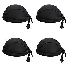 4Pcs/Set Black Men's Sports Headband Adjustable Motorcycling Biking Dew Rag Skull Caps Head Wrap Chemo Hats Bandanas