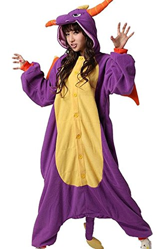 ABING Halloween Pajamas Homewear OnePiece Onesie Cosplay Costumes Kigurumi Animal Outfit Loungewear,Purple Dragon Adult XL -for Height 175-183CM
