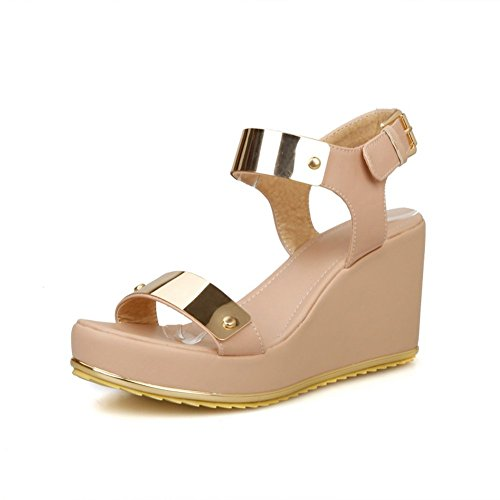 Adee Metalornament Offene PU Damen Sandalen, Pink - rose - Größe: 34