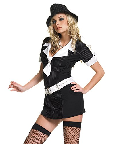 Sexy Lady Gangster Pinstripe Womens Costume 3 Pieces Small Medium Large Sizes: One Size - Mobster Girlfriend Costumes