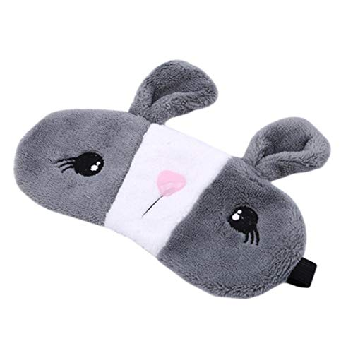 LZIYAN Sleep Eye Mask Lovely Cartoon Rabbit Eye Mask Portable Eyepatch Cute Blocks Out Light Blindfold For Home Travel,Gray by LZIYAN (Image #3)