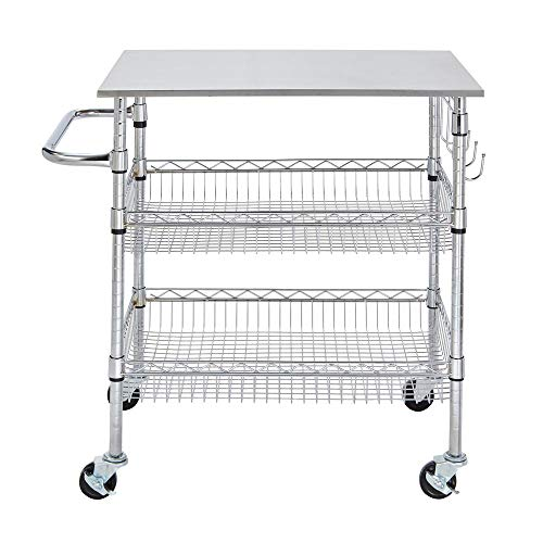 StyleWell H17110706 Gatefield Chrome Large Kitchen Cart with Stainless Steel -