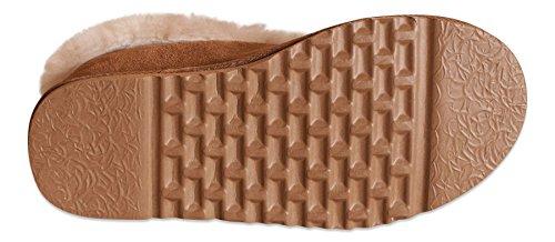 Nordvek - Zapatilla de casa mujer - Estilo bota - 100% piel ovina auténtica - Collarín con pelo y suela antideslizante- # 404-100 Castaña
