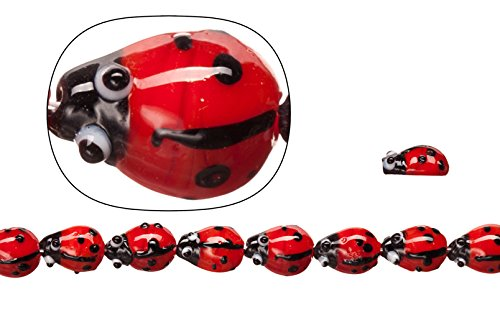 Lamp worked glass beads, opaque red ladybug, 10x15mm sold per 20pcs/30cm string