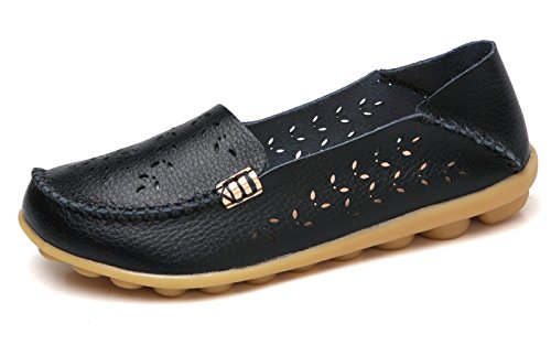 VenusCelia Women's Breathable Natural Walking Flat Loafer(8 M US,Black)