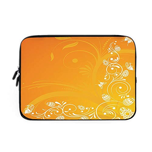 Orange Laptop Sleeve Bag,Neoprene Sleeve Case/Easter Themed Abstract Composition with Ornate Flora Eggs and Butterflies/for Apple MacBook Air Samsung Google Acer HP DELL Lenovo AsusOrange YEL