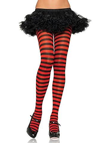 Leg Avenue Women's Nylon Striped Tights, Black/Red,