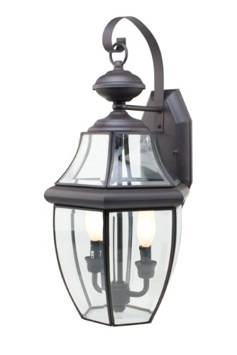 Transglobe Lighting 4320 BK Outdoor Wall Light with Beveled Glass Shades, Black Finished