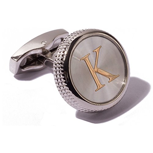 (HJ Men's 2PCS Fashion Dazzle Tuxedo Shirts Platinum Plated Cufflinks Initial Letter 2 Color A-Z (silver K))