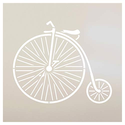 "Big Wheel Bicycle Stencil by StudioR12 | Fun Vintage Art - Reusable Mylar Template | Painting, Chalk, Mixed Media | Use for Crafting, DIY Home Decor - STCL1109 (6"" x 6"")"