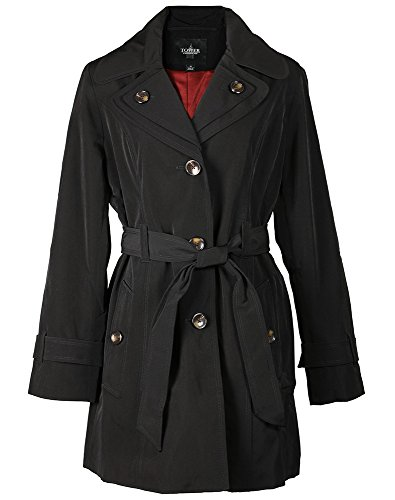 ini Trench Coat - Double Collar, Black-Medium (Collar Trench Coat)